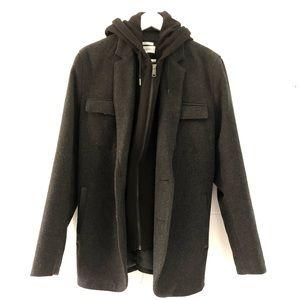 Calvin Klein Wool Blend Zip Overcoat - Large